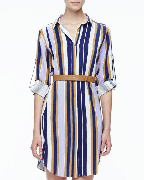 eb950420843c0 Halston Heritage Striped Belted Fuji Silk Shirtdress in Blue ...