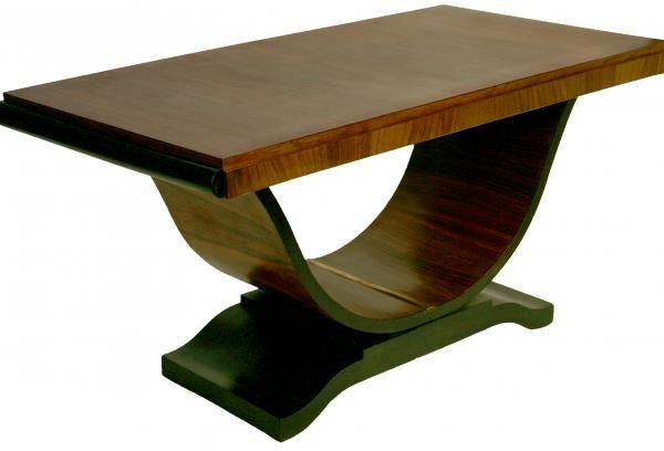 French Art Deco Dining Room Table U Swan Base Rosewood Wood