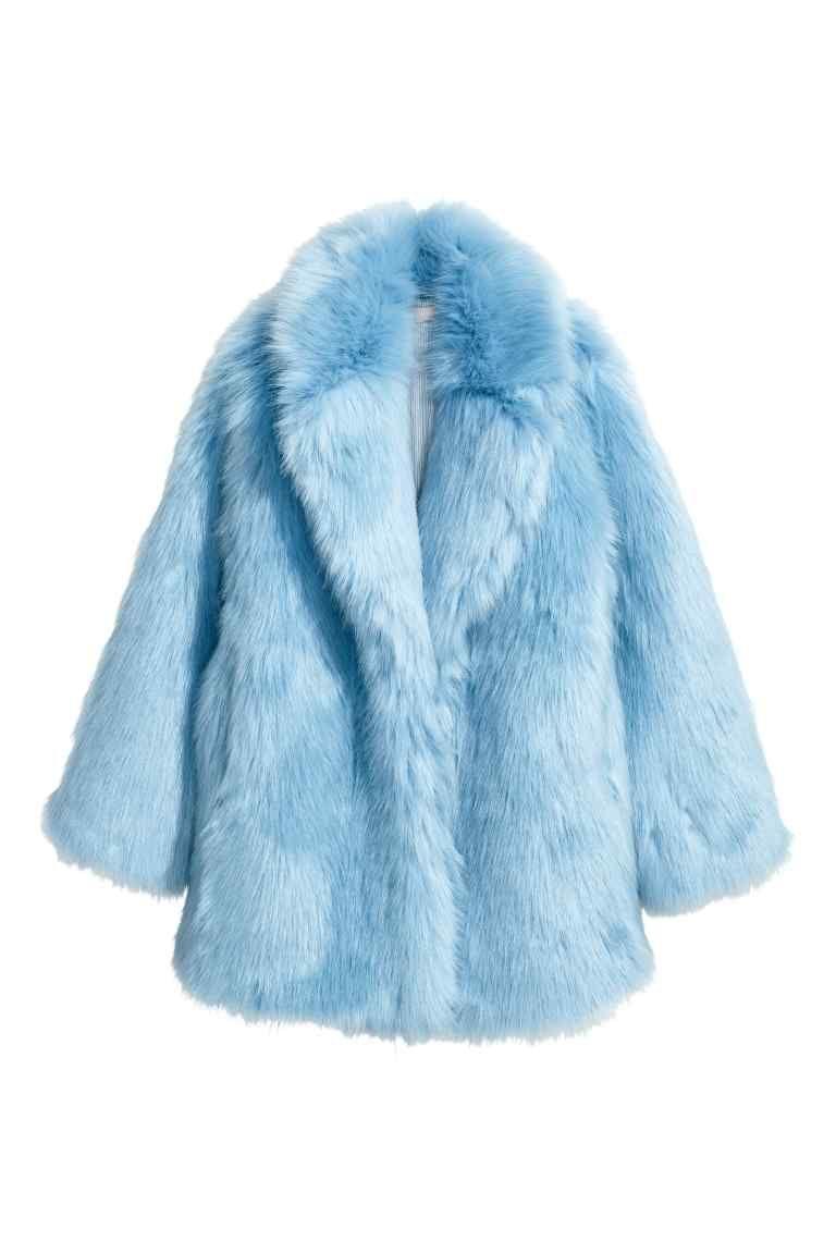 Faux Fur Jacket Light Blue Ladies H M Ie Faux Fur Jacket Fur Jacket Blue Fur Coat