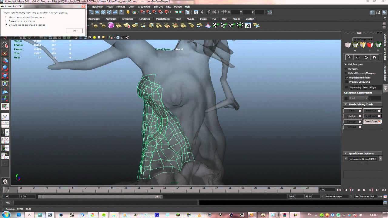 Intermediate Bonsai Tree 3D tutorial: 04 Retopologizing in Maya (NEX