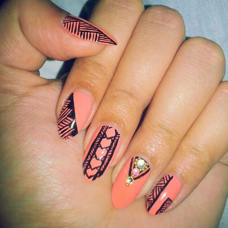 Tribal Nail Art: Sexy Tribal Nail Art Coral Nails
