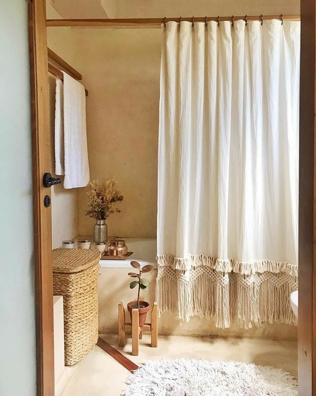 Diy Boujee Boho Macrame Shower Curtain In 2020 Boho Bathroom Decor Boho Bathroom Boho Shower Curtain