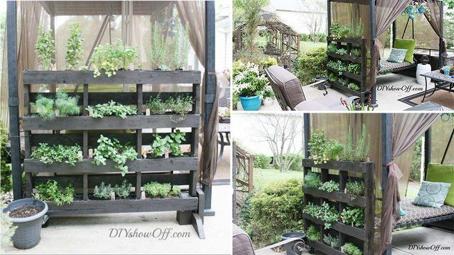20 id es de diy au jardin avec des palettes herbes aromatiques herbe et support - Palette herbes aromatiques ...