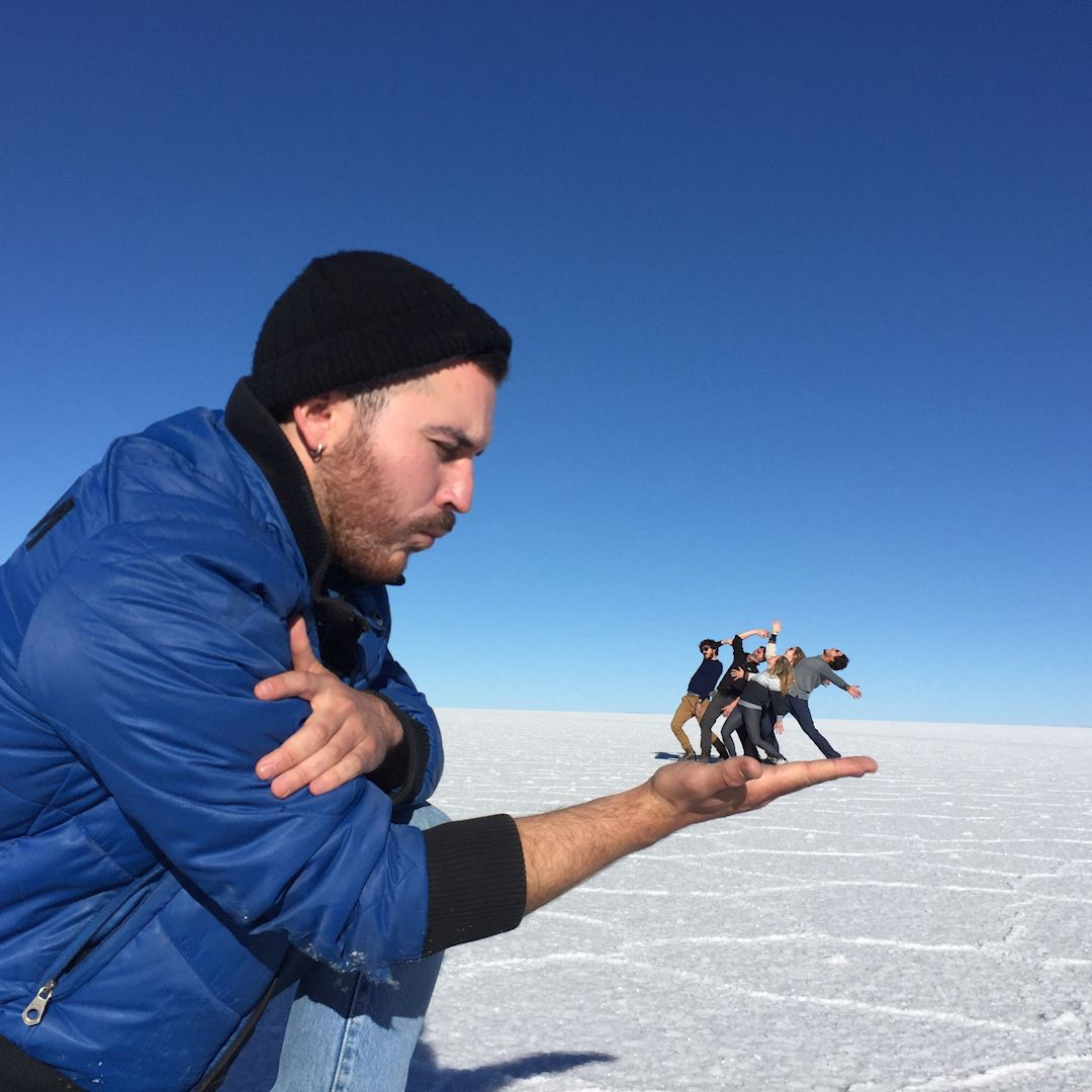 Play around with perspectives and take funny photos on the Bolivian salt flats.