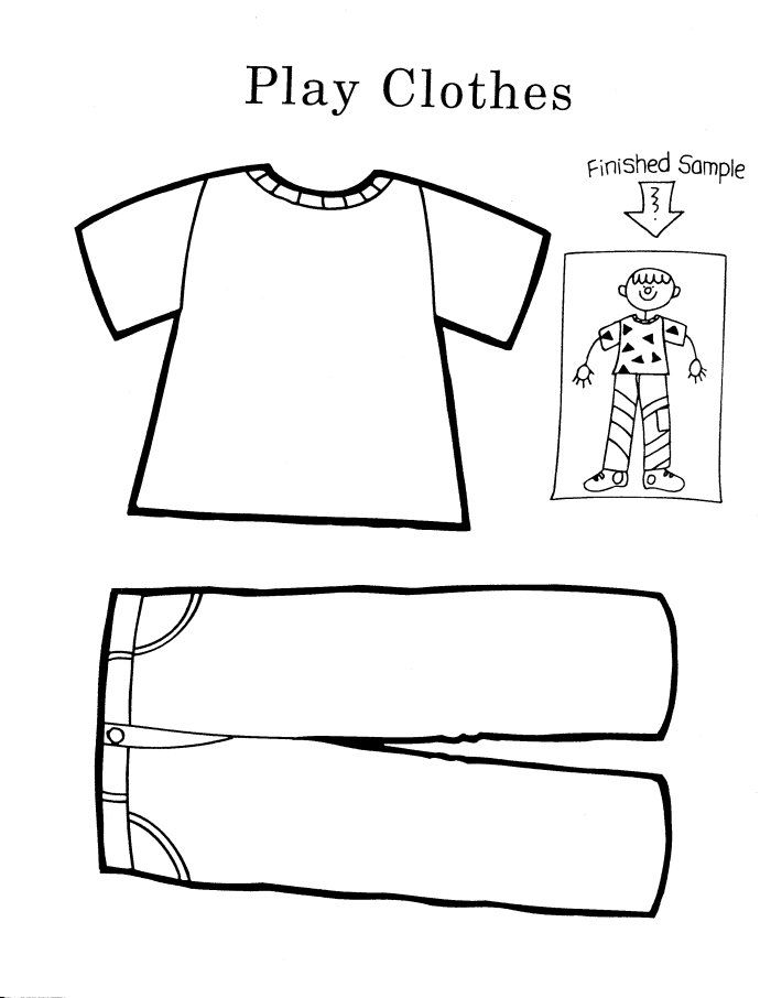 Clothes coloring pages cool pre k worksheets for children for Clothing coloring page