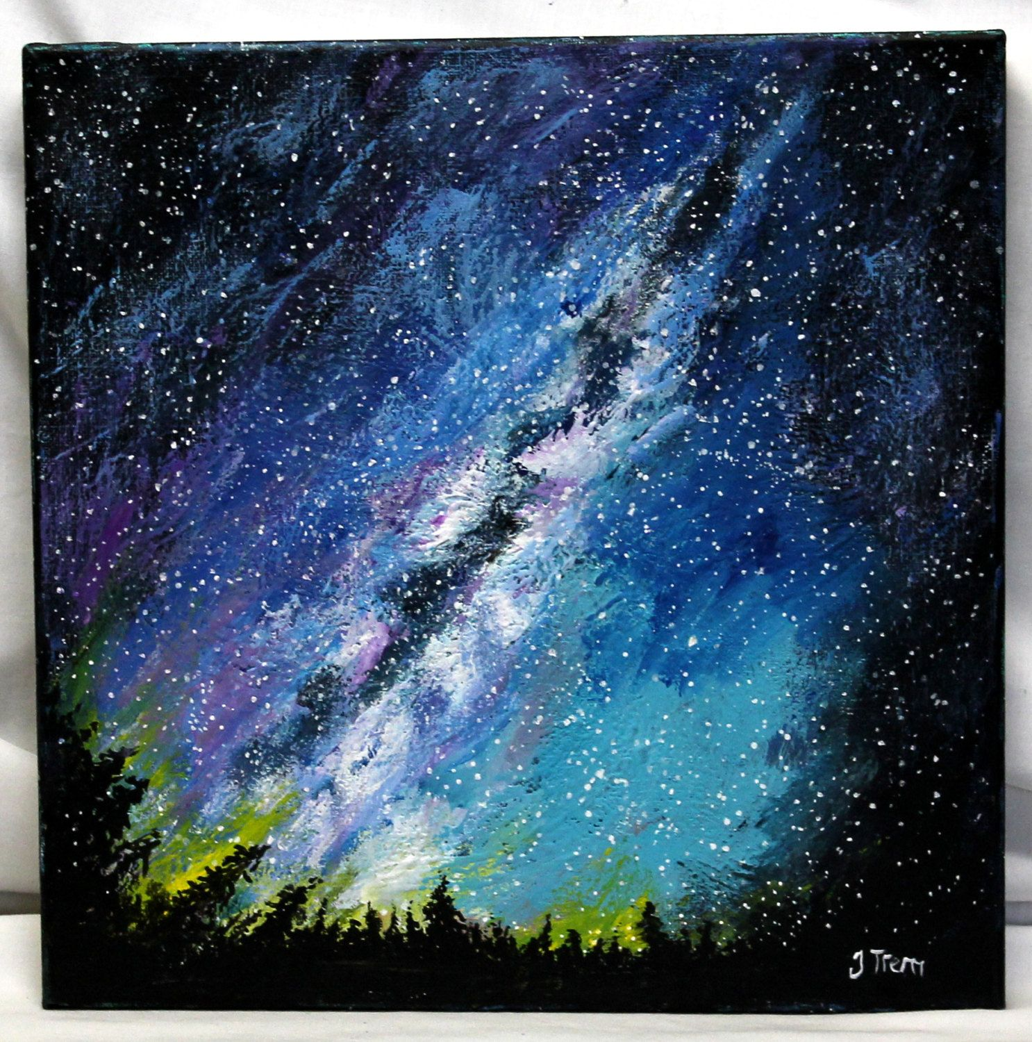 Milky Way Painting Acrylic On 12 Quot X 12 Quot Canvas Cosmic Sky Art On Canvas Original Acryliic Paintin Small Wall Decor Cute Wall Decor Gold Wall Decor