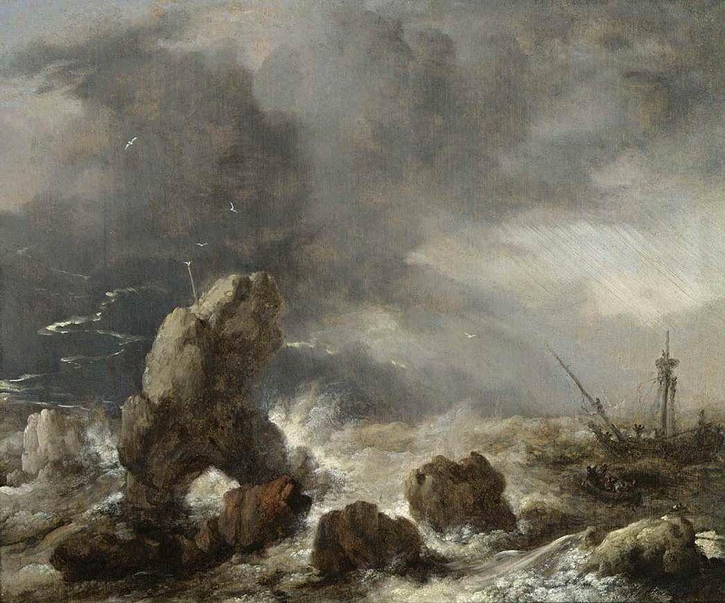 Philips Wouwerman - Schepen in een storm bij een rotsachtige kust