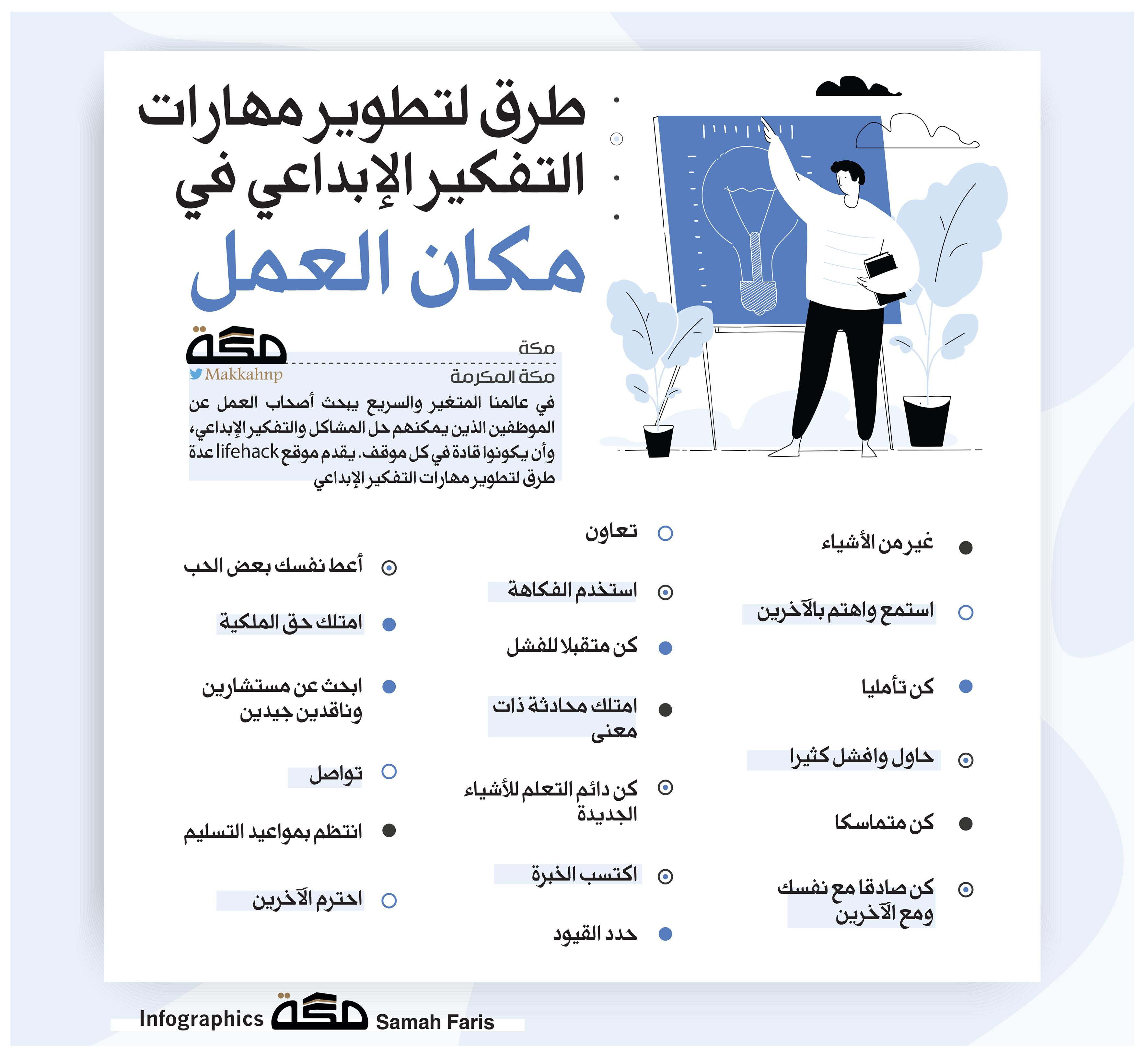 طرق لتطوير مهارات التفكير الإبداعي في مكان العمل العمل التفكير الإبداعي صحيفة مكة Words Word Search Puzzle Infographic