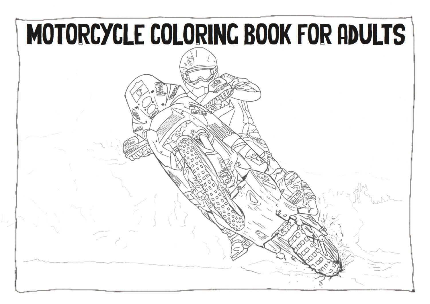 Adult Coloring Book - Instant Download - Motorcycle Coloring Book ...