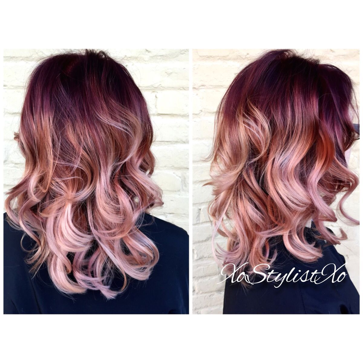 Red Rose Gold Blush Sombre So Want To Have This Hair Color Hair Styles Dyed Hair Hair Color
