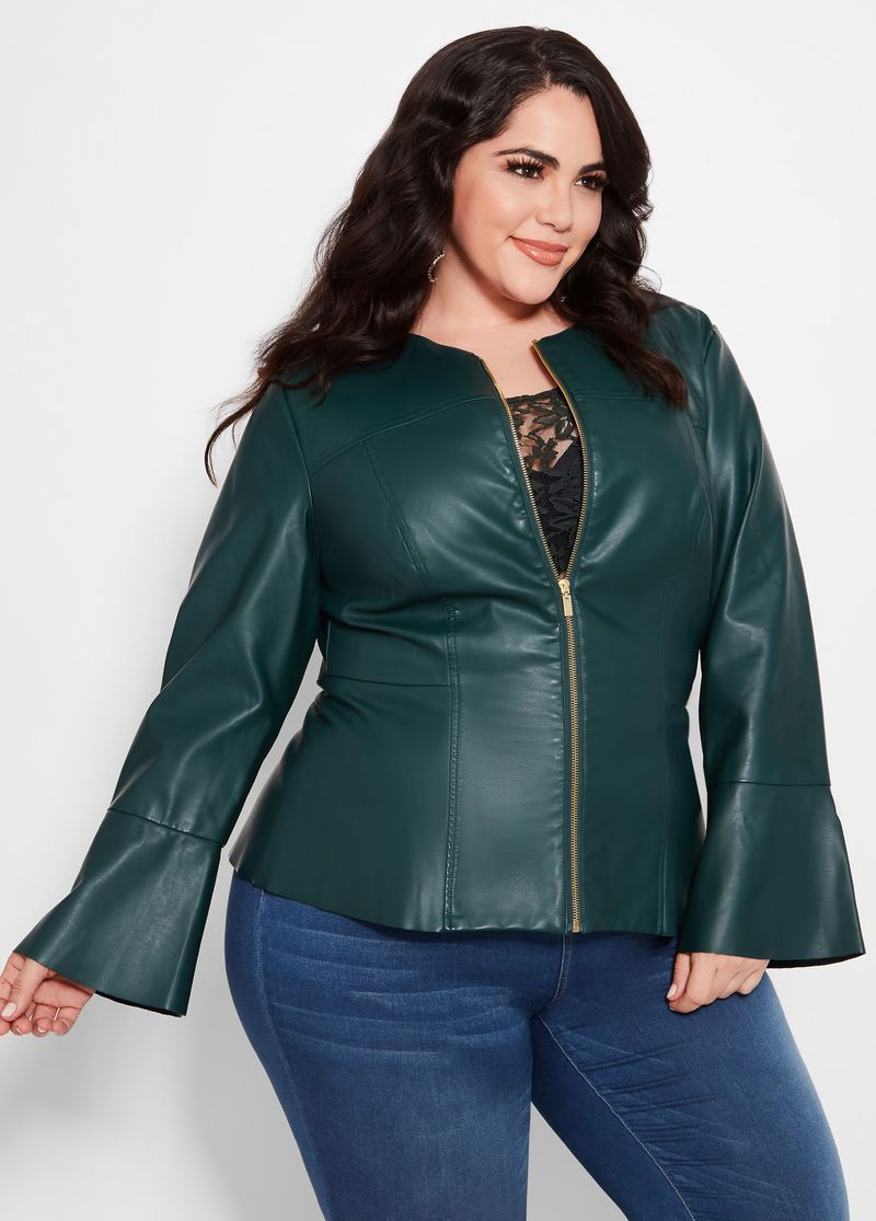 652bbcb8965 Collarless Faux Leather Jacket Plus Size Model  Nicole Zepeda Agency  State  Mgmt Location  NYC Agent  Susan Georget