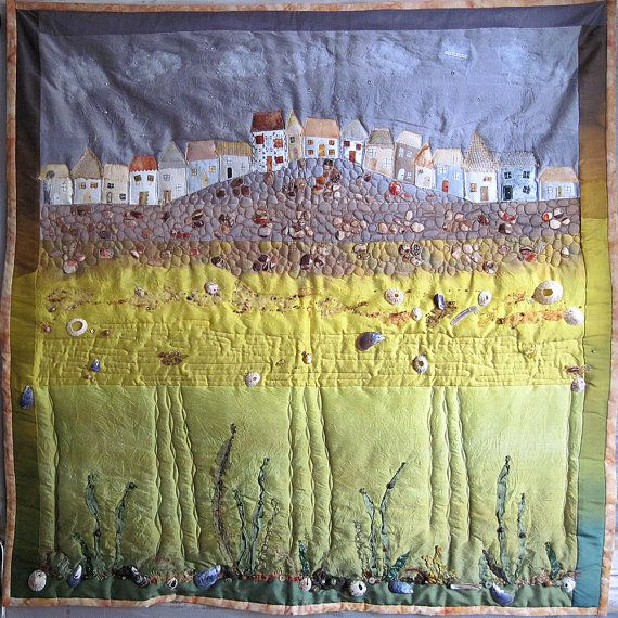 SEASIDE ART QUILT by Carolyn Saxby- St. Ives Cornwall quirky ... : seaside quilt - Adamdwight.com