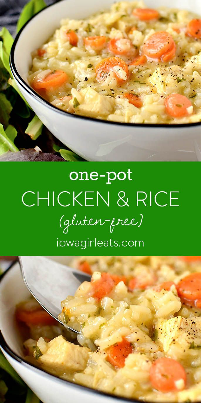 One-Pot Chicken and Rice One-Pot Chicken and Rice is part soup, part risotto, and wholly comforting. Your family will ask for this easy yet irresistable gluten free dinner recipe again and again. |