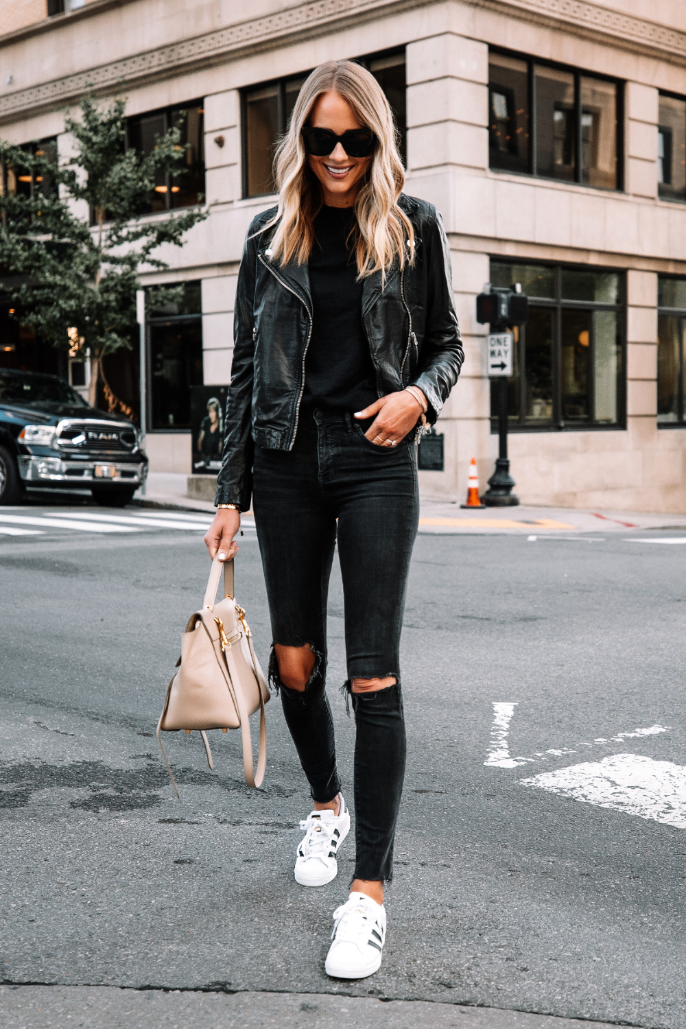 Fashion Jackson Wearing Madewell Black Leather Jacket Black Sweater Black Ripped Skinny Jeans Jacket Outfit Women Black Leather Jacket Outfit Superstar Outfit [ 1500 x 1000 Pixel ]