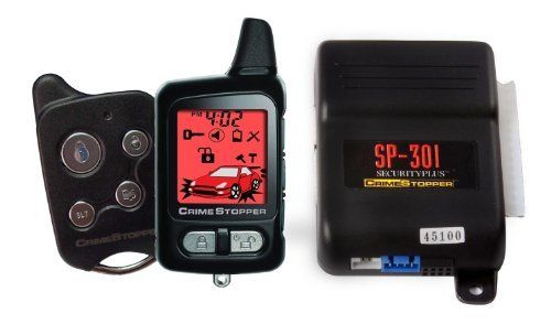 Crimestopper SP-301 SecurityPlus 2 Way Paging Alarm System with FM 2-Way Rechargeable LCD Pager and 1 Way Backup Transmitter by Crime Stopper. $82.99. Crimestopper SecurityPlus alarm system is a high-tech 2-way paging security system that will provide a high level of protection for your vehicle. This system includes a 2-way rechargeable LCD pager which will alert you of any kind of intrusion or vandalism at the vehicle. The system includes the latest in vehicl...