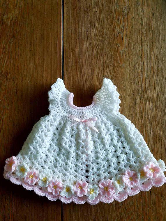Crochet Newborn Baby Girl Dress White Pink Daisy Flower Pinafore w ...
