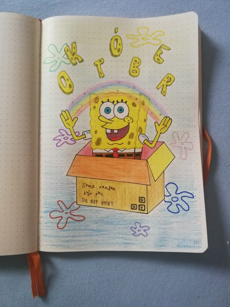 my Spongebob Squarepants themed bullet journal monthly cover may inspire you:) / bujo /