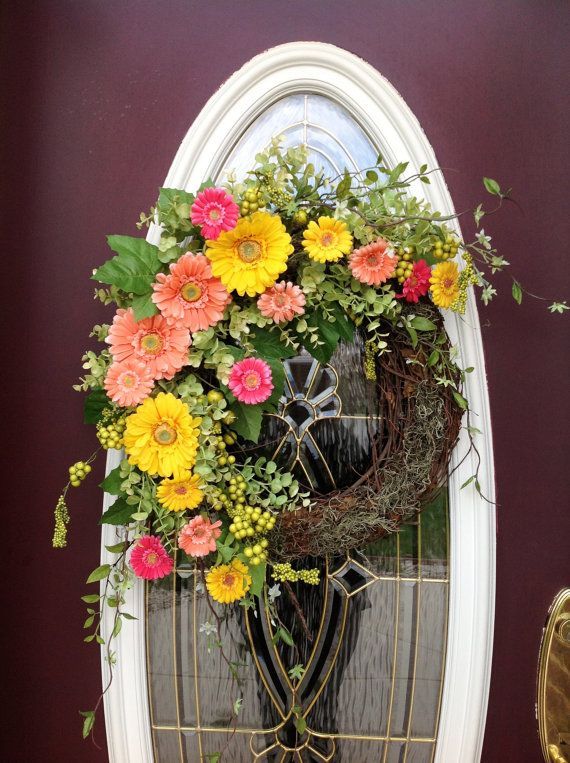 Spring Wreath Summer Wreath Grapevine Door by AnExtraordinaryGift, $85.00