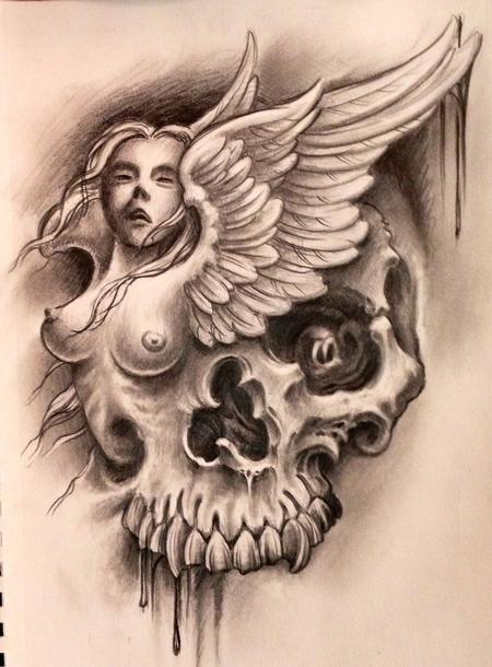 Tattoos by Audi : Original Art : Drawings : Skull angel