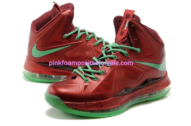 sports shoes 9d397 094e3 Lebron James 10 Lebrons Christmas Red Diamond Green 541100 600  Red  Womens   Sneakers