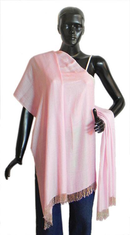 Light Pink Woolen Stole with Beaded Fringe (Light Woolen))