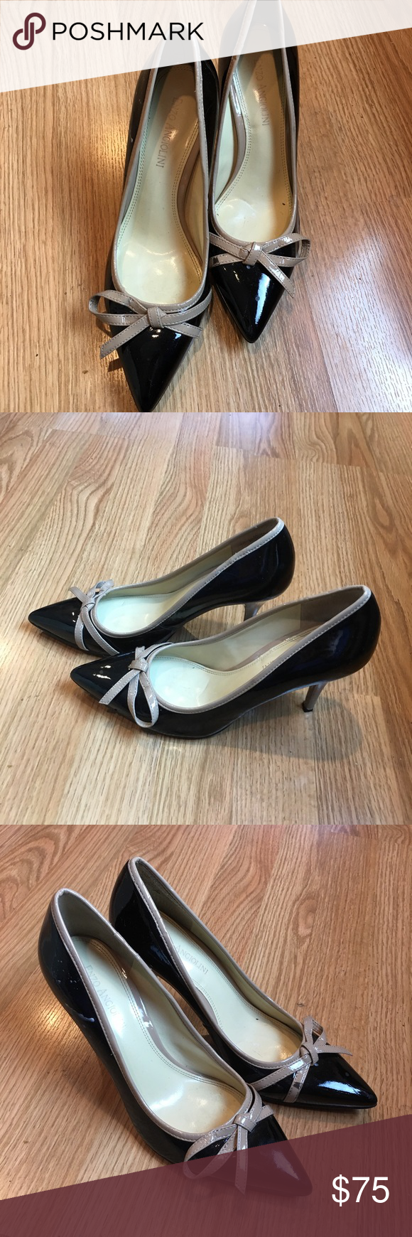 SALE Enzo Angiolini patent leather pumps Enzo Angiolini black and tan leather pumps  flirty, fun style for day or night. Comfortable shoes only worn once. Size 7 M. ✨ Enzo Angiolini Shoes Heels