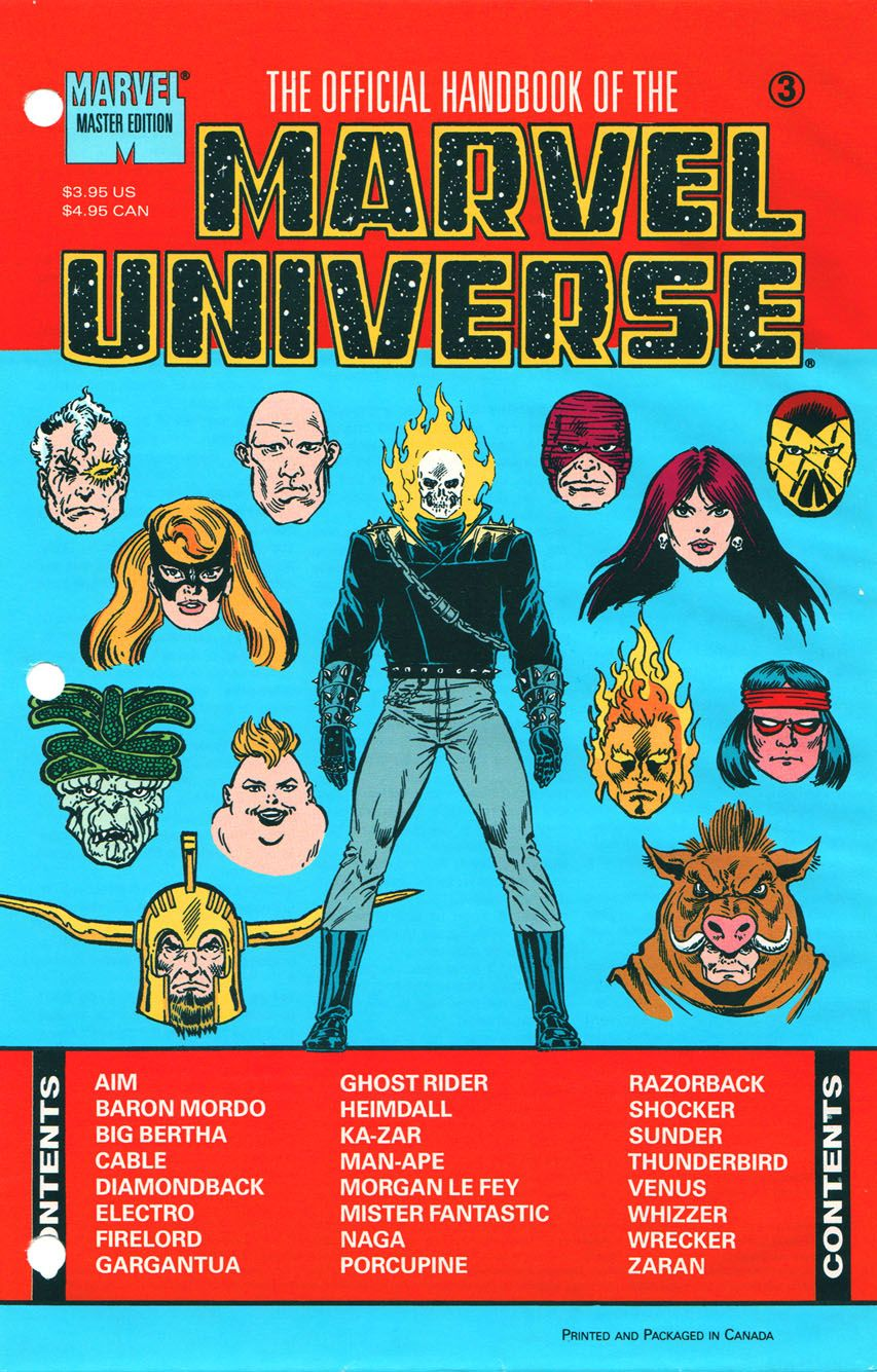 Official Handbook Of The Marvel Universe Master Edition Vol 1 3 Ghost Comic Marvel Universe Marvel