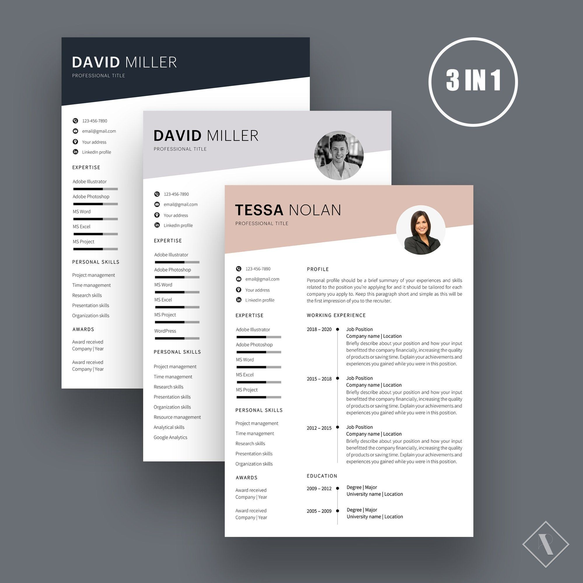 Resume Template Curriculum Vitae Cv Template Modern Resume Etsy Resume Template Cv Template One Page Resume