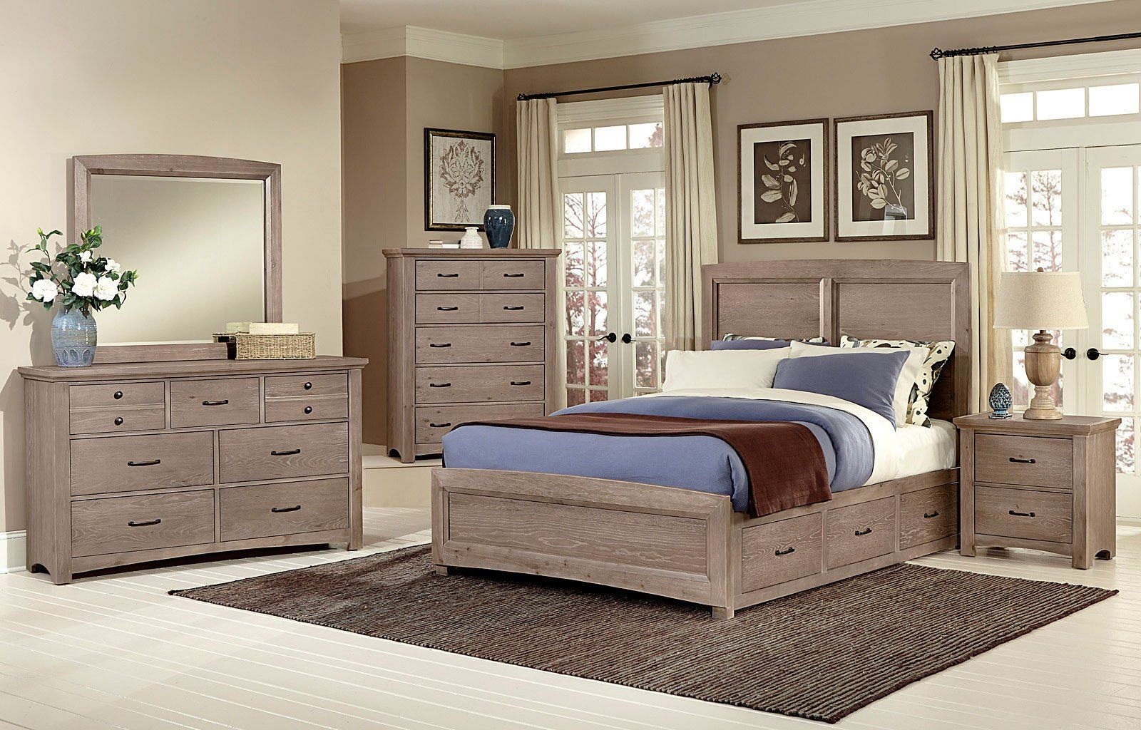 transitions bedroom set w two storages driftwood oak