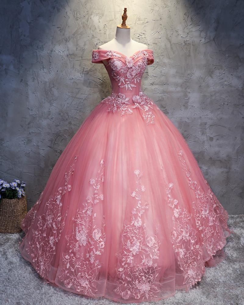 Pink off the shoulder lace flowers ball gown prom dress sweet