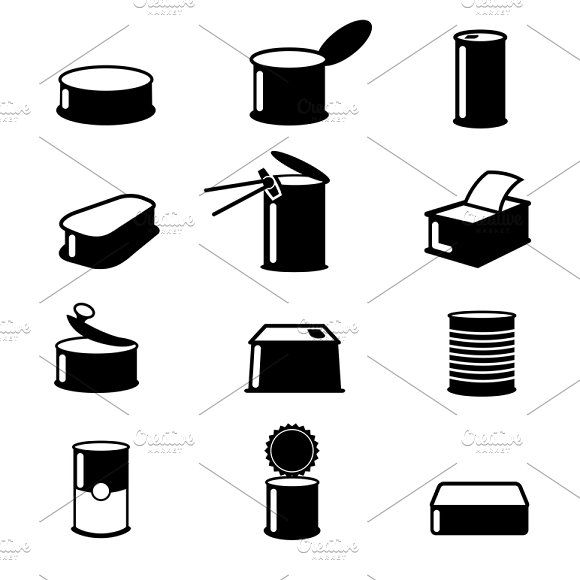 cans food canned goods vector icons by microvector on creativemarket