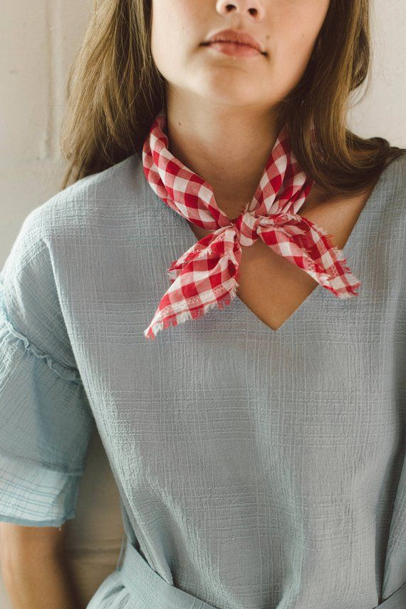 b299369de Red Bandana Scarf, Gingham Neck Scarf, Red Cotton Scarf, Red Neckerchief,  Printed Neck Scarf, Small