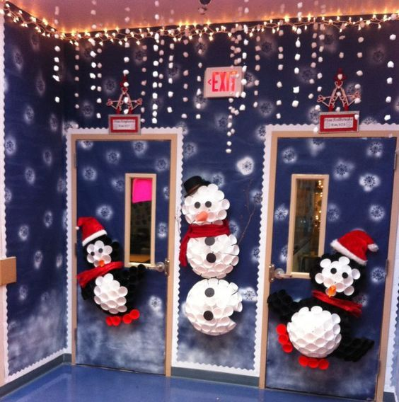Classroom Door Decoration Christmas Classroom Cup Penguin