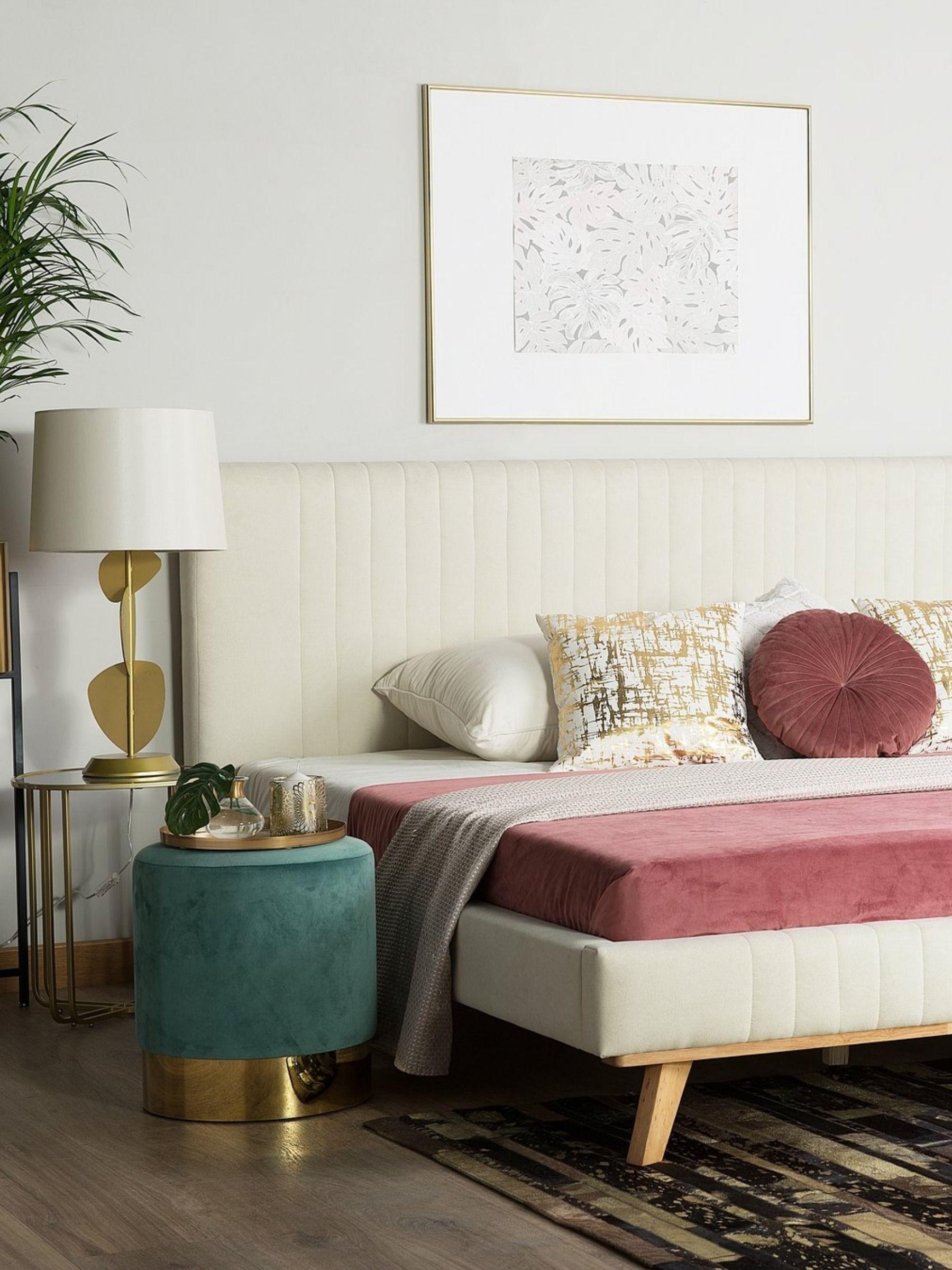 Bett beige Samtstoff Lattenrost 180 x 200 cm TALENCE