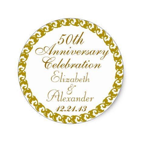 50th Wedding Anniversary Gold Medallion Classic Round Sticker | Gold  Medallion, Round Stickers And Wedding Anniversary