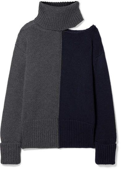 de2a77ab1 Monse Cutout Two-tone Wool Turtleneck Sweater - Dark gray
