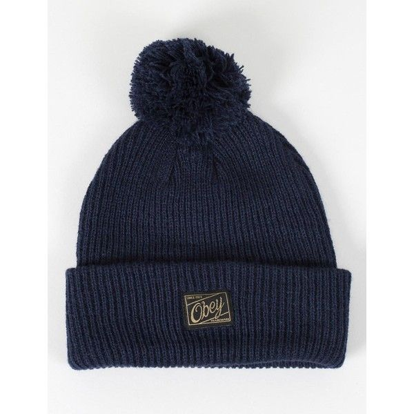 d4783f614be Obey Old Timey Pom Pom Beanie Hat - Navy ( 32) ❤ liked on Polyvore ...