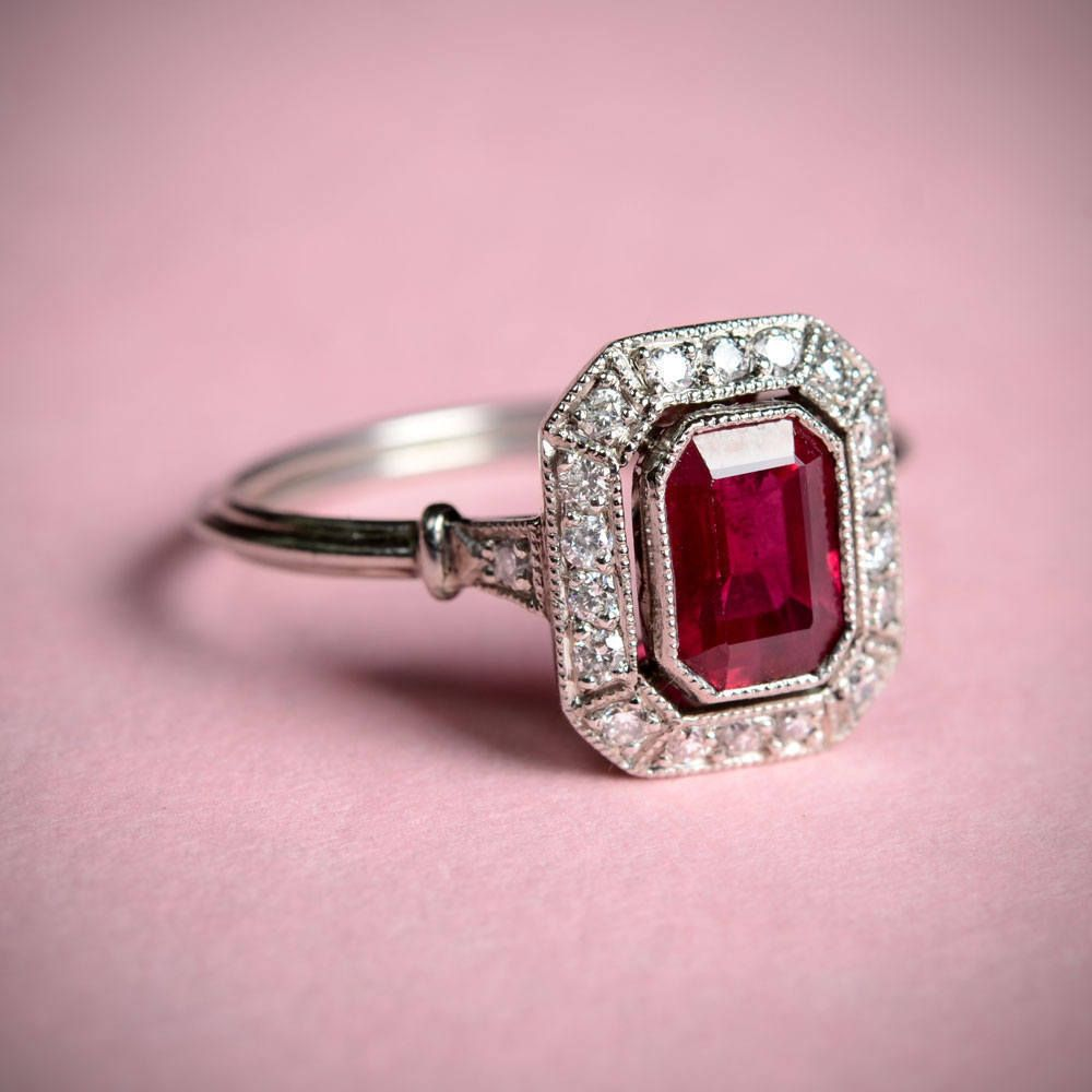 1.50Ct Red Emerald Cut Art Deco Engagement Wedding Ring 925 Sterling ...