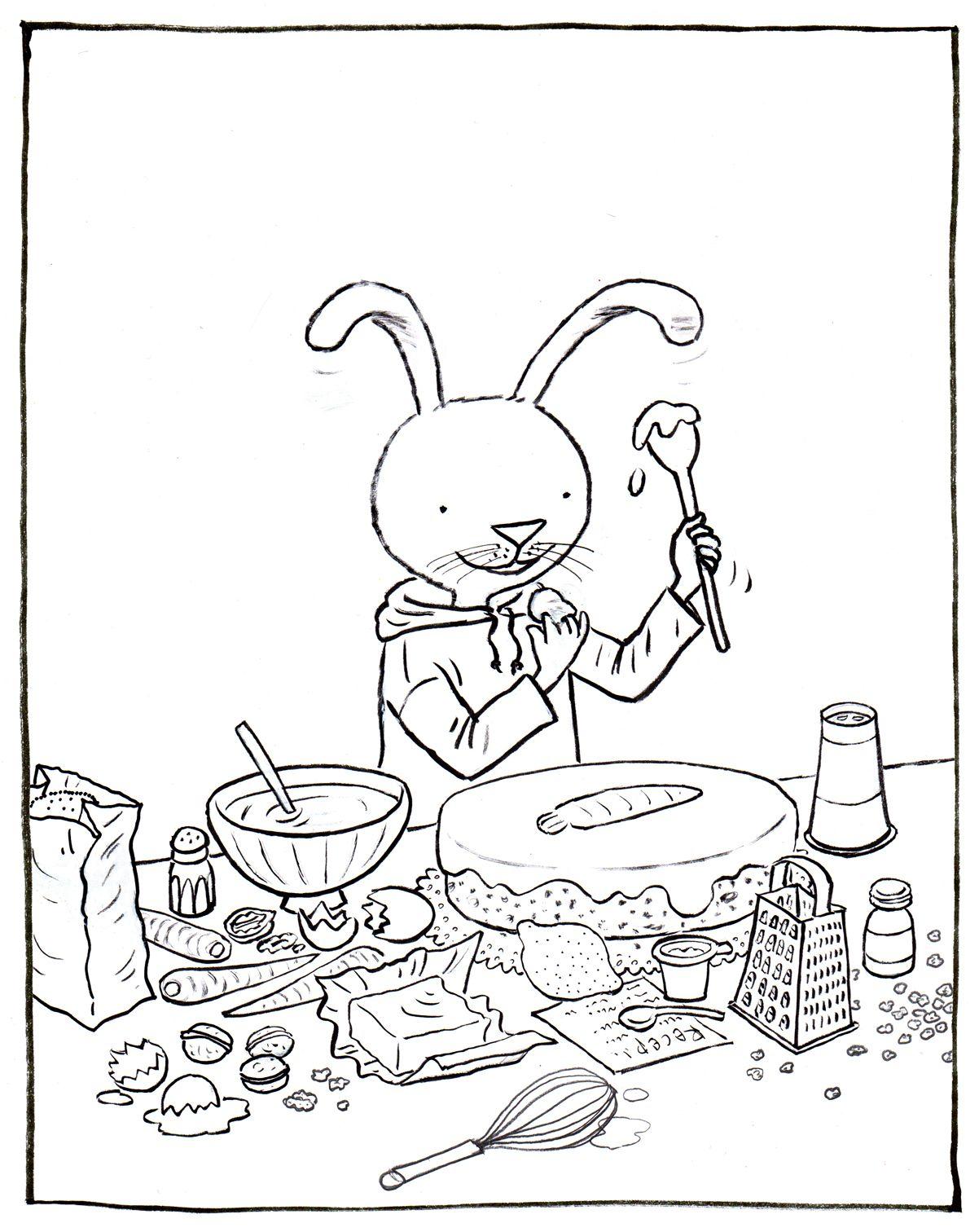 kleurplaat haas wil worteltjestaartstaart kleurplaten