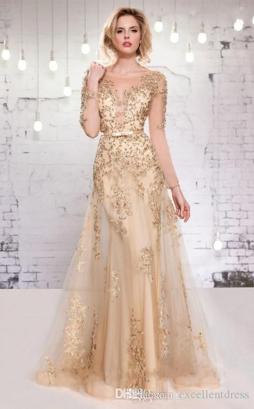 Long Sleeve Evening Dresses 2015 Gold Lace Appliques Beads Formal ...