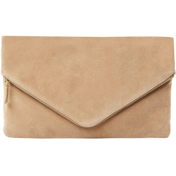 Mr. Large Suede Envelope Clutch - Cognac (2 355 SEK) ❤ liked on Polyvore featuring bags, handbags, clutches, cognac, suede handbags, beige clutches, suede purse, beige envelope clutch and envelope clutch