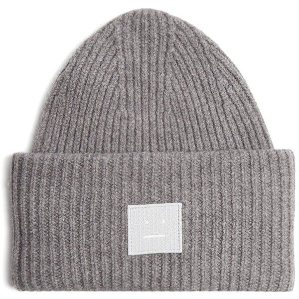 Pansy S Face ribbed-knit beanie Acne Studios