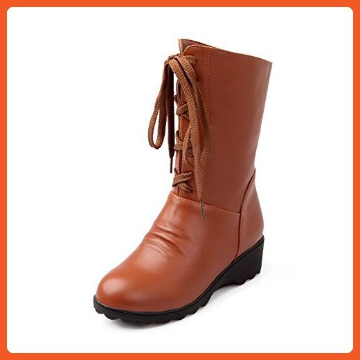 Women's Solid Soft Material Low Heels Lace Up Round Closed Toe Boots