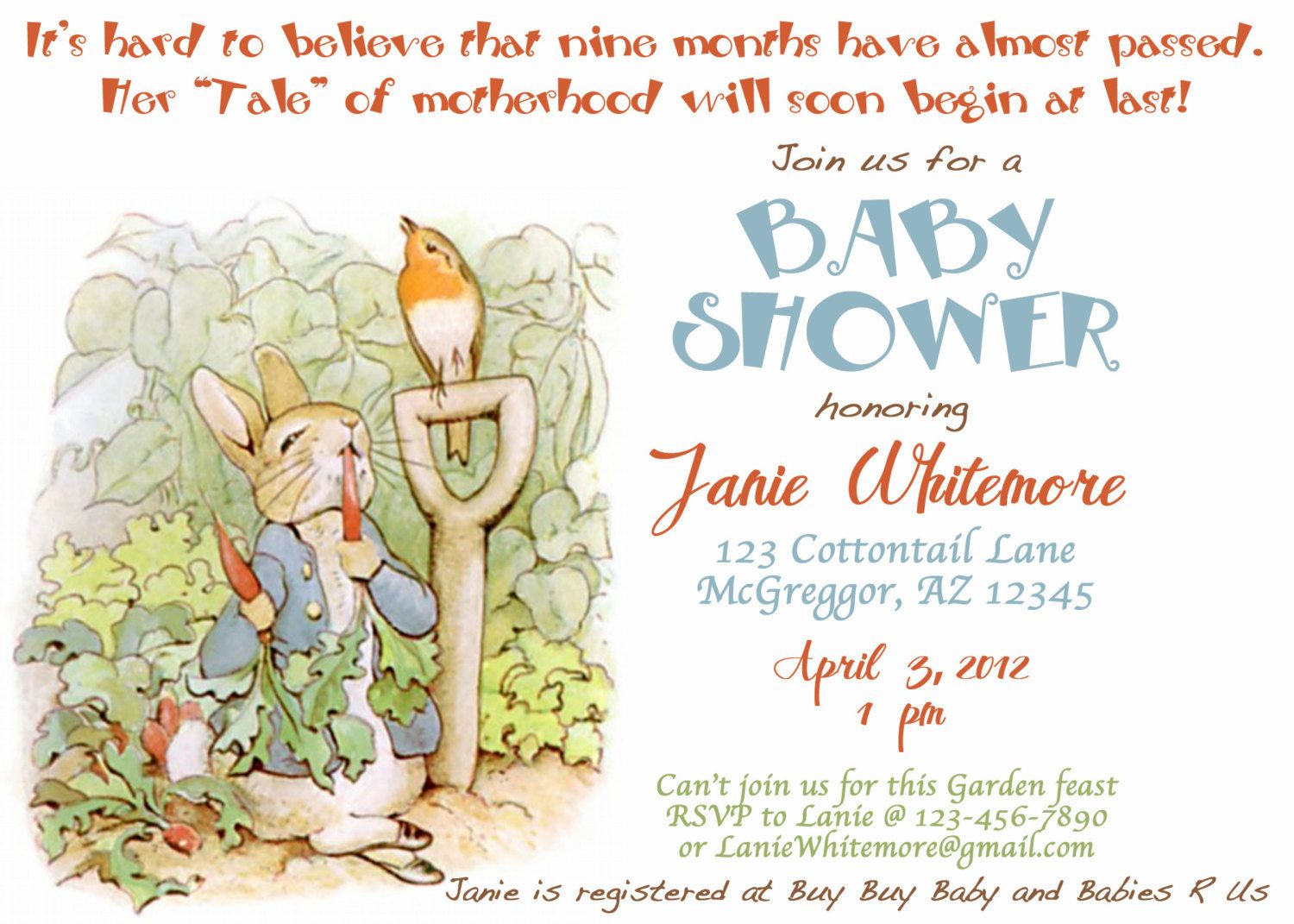 PRINTABLE Beatrix Potter Peter Rabbit Themed Baby Shower Invitation ...