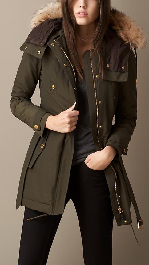 Fur Trim Down-Filled Parka | Burberry | Winter attire | Pinterest ...
