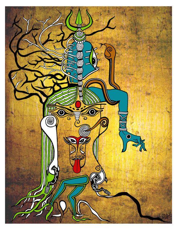 Kali Canvas Poster Mahakali Art print Indian art Kali dance