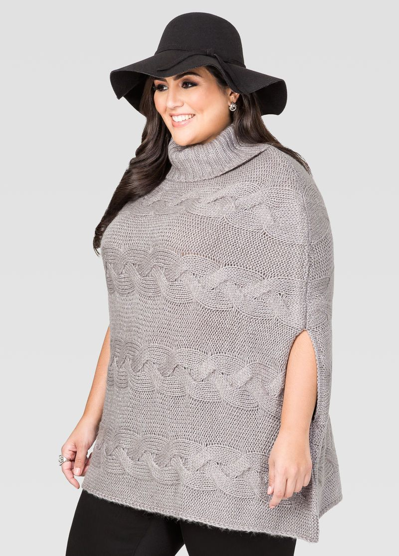 Cowl Neck Cable Poncho Sweater Cowl Neck Cable Poncho Sweater ...