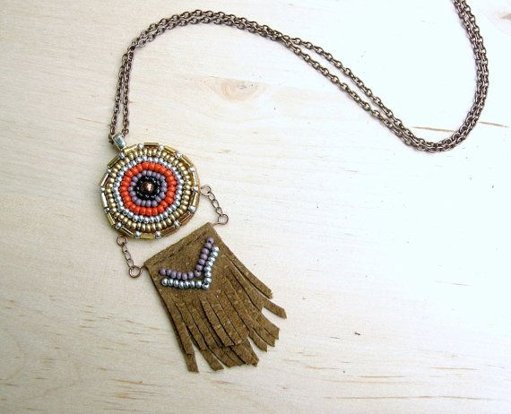 Trust Medallion Necklace  Beaded Bohemian Leather by HoneyThistle, $58.00