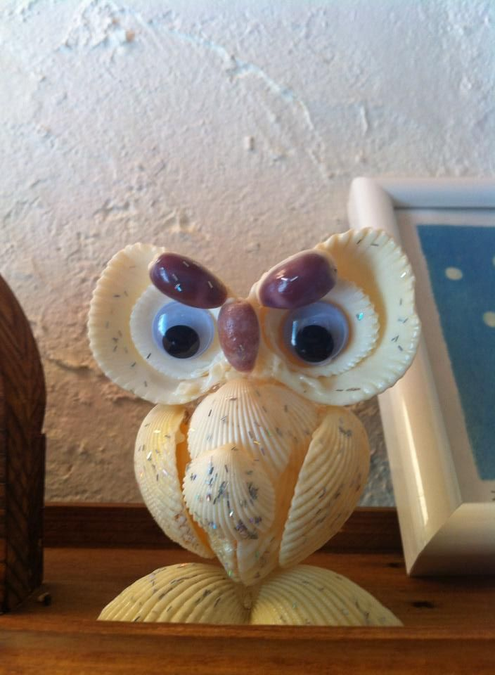 Make a sea shell owl! I saw this owl in a cute little Japanese cafe on the island of Okinawa and I was inspired to recreate this when I return to Taiwan.