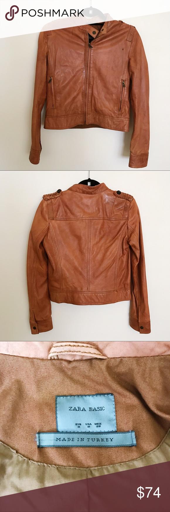 Zara leather Moto Bomber style jacket Size Medium Zara
